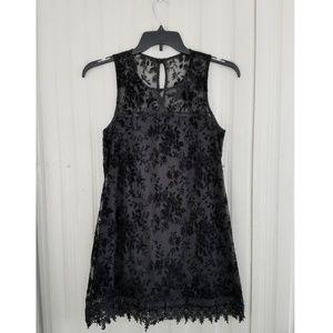 Mini Dress Black Lace Velvet Floral Tunic Juniors